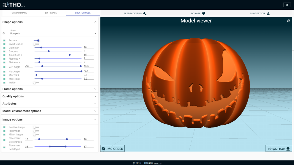 Halloween pumpkin lithophane