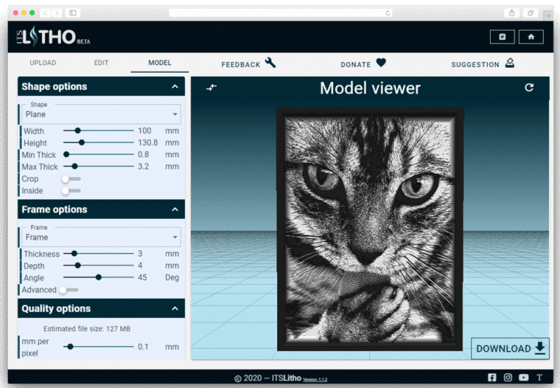 itslitho image to lithophane cat preview model