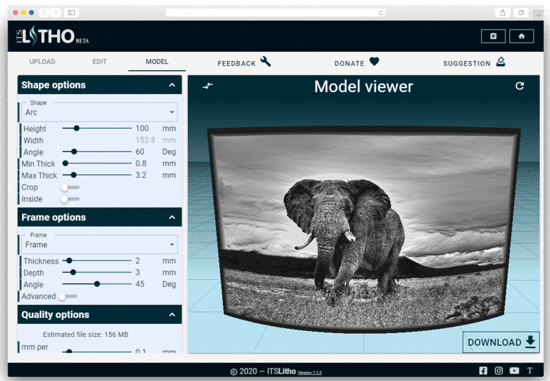 itslitho image to lithophane elephant preview model