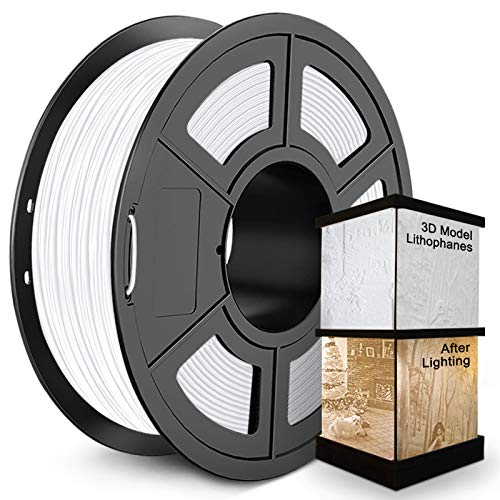 PLA 3D Printer Filament 1.75mm, SUNLU PLA Filament, Dimensional Accuracy +/- 0.02 mm, 1 kg Spool, PLA 1.75 White