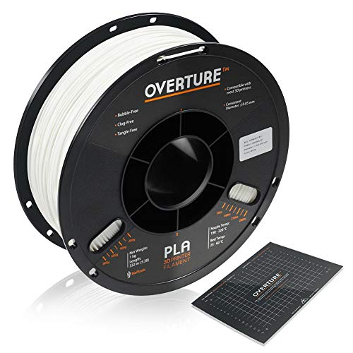 OVERTURE PLA Filament 1.75mm with 3D Build Surface 200mm x 200mm 3D Printer Consumables, 1kg Spool (2.2lbs), Dimensional Accuracy +/- 0.05 mm, Fit Most FDM Printer, White
